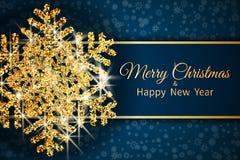 Cartolina d'auguri di Buon Natale Fiocco di neve dell'oro su backg blu scuro illustrazione vettoriale