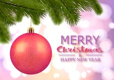 Cartolina d'auguri di Buon Natale Priorità bassa festiva Palla rossa di Natale con gli scintilli sui precedenti delle luci royalty illustrazione gratis
