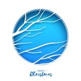 Cartolina d'auguri di Buon Natale Ramo delle betulle nello stile del taglio della carta Inverno di caduta di origami Feste del bu Fotografia Stock