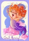 Cartolina d'auguri di buongiorno con la piccola sirena sveglia Fotografia Stock Libera da Diritti