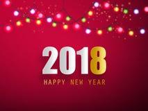 Cartolina d'auguri di 2018 buoni anni con la ghirlanda di Natale Vettore Immagine Stock