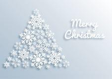 Cartolina d'auguri di carta di Buon Natale di stile con l'albero di Natale fatto dei fiocchi di neve bianchi Modello del fondo di illustrazione di stock