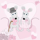 Cartolina d'auguri di cerimonia nuziale del mouse Immagini Stock Libere da Diritti