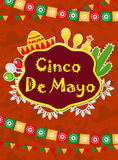 Cartolina d'auguri di Cinco de Mayo, modello per l'aletta di filatoio, manifesto, invito Celebrazione messicana con i simboli tra illustrazione vettoriale