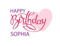 Cartolina d'auguri di compleanno con il nome Sophia Iscrizione elegante della mano e un grande cuore rosa Elemento isolato di pro illustrazione di stock