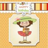 cartolina d'auguri di compleanno con la ragazza Fotografia Stock Libera da Diritti