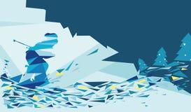 Cartolina d'auguri di corsa con gli sci della neve Fotografia Stock