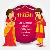 Cartolina d'auguri di Diwali con i bambini indiani del fumetto illustrazione di stock