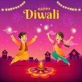 Cartolina d'auguri di Diwali con i bambini indiani del fumetto illustrazione vettoriale
