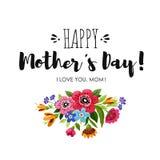 Cartolina d'auguri di Eelgant con i fiori Scheda felice di giorno del `s della madre Giorno felice del ` s della madre dell'iscri Fotografia Stock Libera da Diritti
