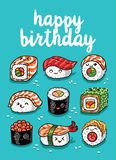 Cartolina d'auguri di emoji dei sushi con il buon compleanno del testo Fotografie Stock Libere da Diritti