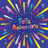 Cartolina d'auguri di Feliz Aniversario Portuguese Happy Birthday Fotografia Stock Libera da Diritti