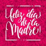 Cartolina d'auguri di Feliz Dia Mama con il modello floreale rosa-rosso Fotografia Stock Libera da Diritti