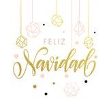 Cartolina d'auguri di Feliz Navidad Merry Spanish Christmas Fotografie Stock