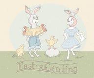 Cartolina d'auguri di festa con l'iscrizione della mano e conigli di Pasqua che ballano alla fisarmonica ed ai polli di canto Sal illustrazione vettoriale
