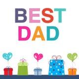 Cartolina d'auguri di festa del papà con il contenitore ed il pallone di regalo Fotografie Stock