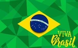 Cartolina d'auguri di festa dell'indipendenza del Brasile testo in portoghese: Viva Brazil Illustrazione di vettore Insegna di co royalty illustrazione gratis