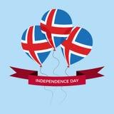 Cartolina d'auguri di festa dell'indipendenza dell'Islanda Palloni piani volanti nei colori nazionali dell'Islanda immagine stock libera da diritti