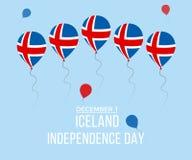 Cartolina d'auguri di festa dell'indipendenza dell'Islanda Palloni piani volanti nei colori nazionali dell'Islanda fotografia stock libera da diritti