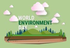 Cartolina d'auguri di festa di protezione di ecologia di Giornata mondiale dell'ambiente del paesaggio della natura Immagini Stock
