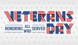 Cartolina d'auguri di giornata dei veterani degli Stati Uniti Illustrazione di vettore Immagine Stock Libera da Diritti
