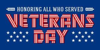 Cartolina d'auguri di giornata dei veterani degli Stati Uniti Illustrazione di vettore Fotografia Stock Libera da Diritti