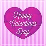 Cartolina d'auguri di giorno di biglietti di S. Valentino con il segno di congratulazione su fondo con colore rosa dei cuori Fotografie Stock Libere da Diritti