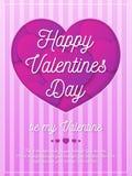 Cartolina d'auguri di giorno di biglietti di S. Valentino con il segno romantico su fondo con colore rosa dei cuori Fotografie Stock Libere da Diritti