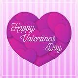 Cartolina d'auguri di giorno di biglietti di S. Valentino con la congratulazione sui cuori di fondo per l'insegna di vendita di u Fotografie Stock Libere da Diritti