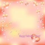 Cartolina d'auguri di giorno del biglietto di S. Valentino chiaro con i cuori Fotografia Stock