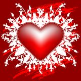 Cartolina d'auguri di giorno del biglietto di S. Valentino con i fiori e cuore sulla cartolina d'auguri Fotografia Stock