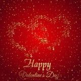 Cartolina d'auguri di giorno del ` s del biglietto di S. Valentino con il cuore dell'oro delle scintille su fondo rosso Vettore royalty illustrazione gratis