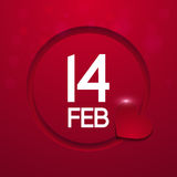 Cartolina d'auguri di giorno del ` s del biglietto di S. Valentino su fondo rosso Immagini Stock Libere da Diritti
