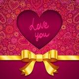 Cartolina d'auguri di giorno di biglietti di S. Valentino con cuore ed il nastro Immagine Stock