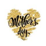 Cartolina d'auguri di giorno di madri con il cuore di scintillio dell'oro Immagine Stock