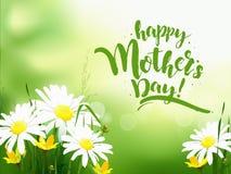 Cartolina d'auguri di giorno di madri con la margherita illustrazione di stock
