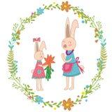 cartolina d'auguri di giorno di madri Il coniglio del bambino dà le carote della mamma, corona dei fiori Caratteri animali disegn illustrazione di stock