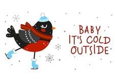 Cartolina d'auguri di inverno con il ciuffolotto royalty illustrazione gratis