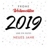Cartolina d'auguri 2019 di Jahr dei neues dei gutes del ein del und di Frohe Weihnachten di calligrafia illustrazione vettoriale