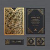 Cartolina d'auguri di lusso dell'invito o di nozze con geometrico Fotografia Stock Libera da Diritti