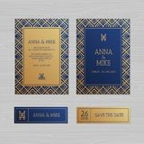 Cartolina d'auguri di lusso dell'invito o di nozze con orname geometrico illustrazione vettoriale