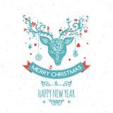 Cartolina d'auguri di Natale con i cervi, vettore Fotografia Stock