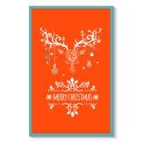 Cartolina d'auguri di Natale con i cervi, vettore Immagini Stock Libere da Diritti