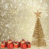 Cartolina d'auguri di Natale con i presente Immagine Stock
