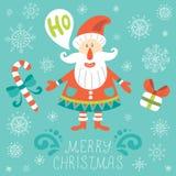 Cartolina d'auguri di natale con il Babbo Natale Immagini Stock