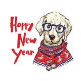 Cartolina d'auguri di Natale con il cane felice che dura nel maglione tricottato, illustrazione del carlino di inverno di vettore Fotografie Stock