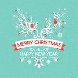 Cartolina d'auguri di Natale con il corno dei cervi, vettore Immagini Stock