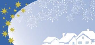 Cartolina d'auguri di natale con il villaggio sotto neve Fotografia Stock