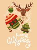 Cartolina d'auguri di Natale con iscrizione Immagine Stock Libera da Diritti