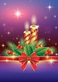 Cartolina d'auguri di Natale con l'albero e la candela di abete Fotografia Stock